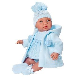 Así doll 46 cm - Leo with blue rompers and blue duffle coat