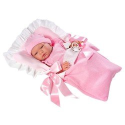 Así doll 43 cm - María with pink body in pink sleeping bag with white plumeti