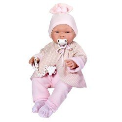 Así doll 43 cm - Maria with pink and beige reversible jacket