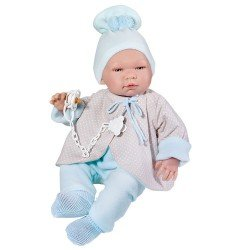 Así doll 43 cm - Pablo with blue and beige reversible jacket