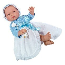 Así doll 43 cm - Pablo with long open white plumeti dress and blue knitted