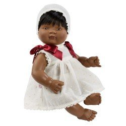 Así doll 36 cm - Sammy with beige plumeti dress with maroon laces