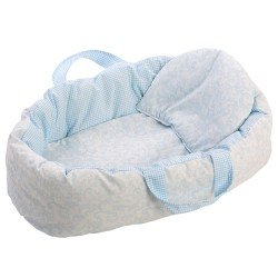 Así doll Complements 36 to 46 cm - Light blue cachemir two-sided carrycot