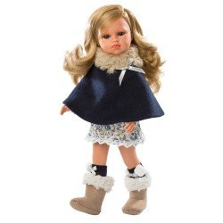 Llorens doll 37 cm - Daniela with navy blue poncho