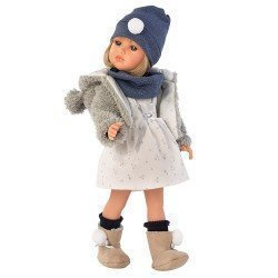 Llorens doll 37 cm - Daniela with fur grey coat