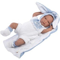 Llorens doll 42 cm - Crying Lalo with little rabbit blanket