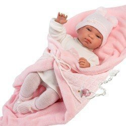 Llorens doll 44 cm - Crying Tina with pink blanket