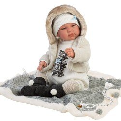 Llorens doll 44 cm - Crying Tino with blanket