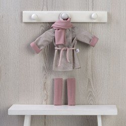 Outfit for Así doll 40 cm - Trench coat, scarf and leggins for Sabrina doll