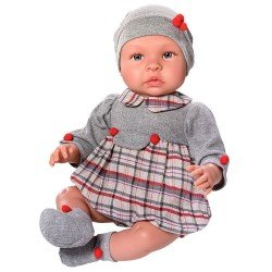Así doll 46 cm - Leo with Scotch rompers red and grey