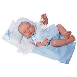 Así doll 43 cm - Pablo with light blue knitted rompers with pillow