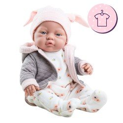 Outfit for Paola Reina doll 45 cm - Koala pyjamas with hat for Los Bebitos