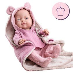 Outfit for Paola Reina doll 45 cm - Pink outfit with blanket for Los Bebitos