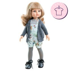 Outfit for Paola Reina doll 32 cm - Las Amigas - Carla flower romper and gray jacket