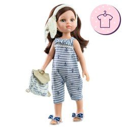 Outfit for Paola Reina doll 32 cm - Las Amigas - Carol sailor jumpsuit, bag and sandals