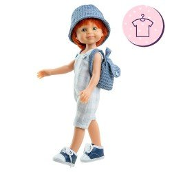 Outfit for Paola Reina doll 32 cm - Las Amigas - Cris plaid jumpsuit, backpack and hat