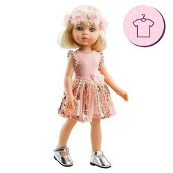 Outfit for Paola Reina doll 32 cm - Las Amigas - Claudia pink sequin dress