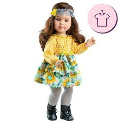 Outfit for Paola Reina doll 60 cm - Las Reinas - Lidia floral and plaid dress