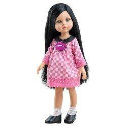 Paola Reina doll 32 cm - Las Amigas - Carina with plaid dress with kiss