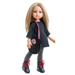 Paola Reina doll 32 cm - Las Amigas - Carla with lead gray and pink outfit and Mickey bag