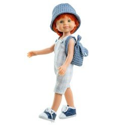 Paola Reina doll 32 cm - Las Amigas - Cris with plaid jumpsuit, backpack and hat