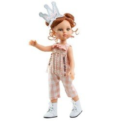 Paola Reina doll 32 cm - Las Amigas - Cristi with plaid jumpsuit and crown