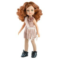 Paola Reina doll 32 cm - Las Amigas - Cristi with corduroy dress and sequined bag