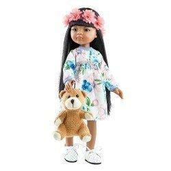 Paola Reina doll 32 cm - Las Amigas - Meily with flower dress and teddy bear