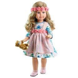 Paola Reina doll 60 cm - Las Reinas - Alma with flower dress and teddy bear