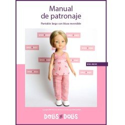 Dolls And Dolls downloadable pattern for Las Amigas dolls - Trousers with reversible blouse