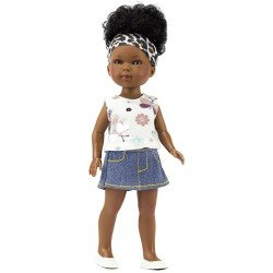Vestida de Azul doll 28 cm - Los Amigos de Carlota - Brandy with jeans skirt and t-shirt with insect print