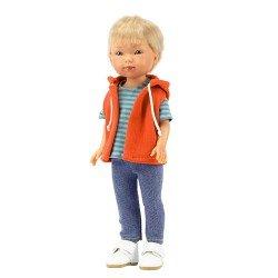 Vestida de Azul doll 28 cm - Los Amigos de Carlota - Nylo jeans with striped t-shirt and orange vest