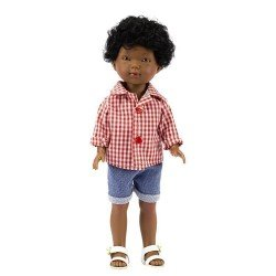 Vestida de Azul doll 28 cm - Los Amigos de Carlota - Omar with jeans shorts and red vichy shirt