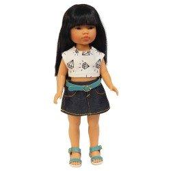 Vestida de Azul doll 28 cm - Los Amigos de Carlota - Umi with jeans skirt and printed t-shirt