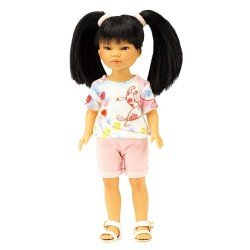 Vestida de Azul doll 28 cm - Los Amigos de Carlota - Umi with pink jeans shorts and cats t-shirt