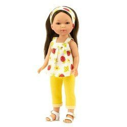 Vestida de Azul doll 28 cm - Carlota with yellow jeans and a fruit print blouse