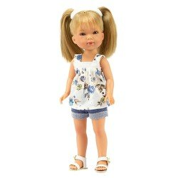 Vestida de Azul doll 28 cm - Carlota with jeans shorts and printed blouse