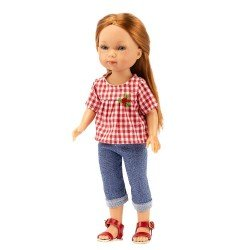 Vestida de Azul doll 28 cm - Carlota with cropped jeans and red vichy blouse