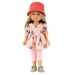 Vestida de Azul doll 28 cm - Carlota with pink jeans, flower dress and hat