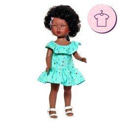 Vestida de Azul doll Outfit 28 cm - Carlota - Blue dress with kerchief