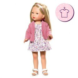 Vestida de Azul doll Outfit 28 cm - Carlota - Flower dress with pink jacket