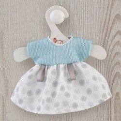 Así doll Outfit 20 cm - Blue knit and white and gray pique dress for Cheni doll
