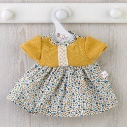 Así doll Outfit 36 cm - Blue and mustard flower dress for Guille doll