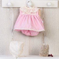 Así doll Outfit 36 cm - Pink dress with beige embroided hood for Koke
