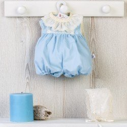 Así doll Outfit 36 cm - Light-blue romper with beige embroided hood for Koke