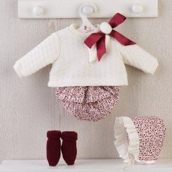 Así doll Outfit 46 cm - Brown floral bloomers with beige sweater for Leo doll