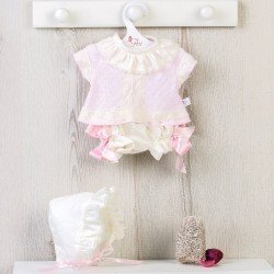 Así doll Outfit 43 cm - Pink laced baby outfit with hood for María