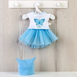 Outfit for Así doll 40 cm - Blue tulle skirt, butterfly shirt and white hat for Sabrina doll