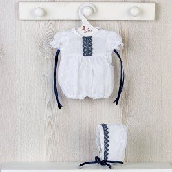 Así doll Outfit 36 cm - Plumeti romper with navy blue roll for Koke