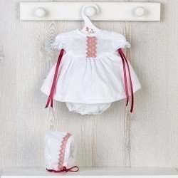 Así doll Outfit 36 cm - Plumeti dress with old pink roll for Koke